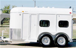 Miniature horse trailer with equipment storage in front