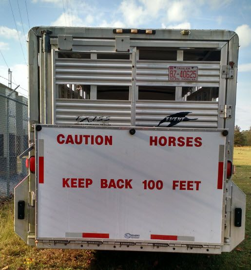 Reflective Caution Sign for Safe Horse Trailering