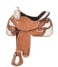 Western show saddles feature silver trim and elaborate leather tooling